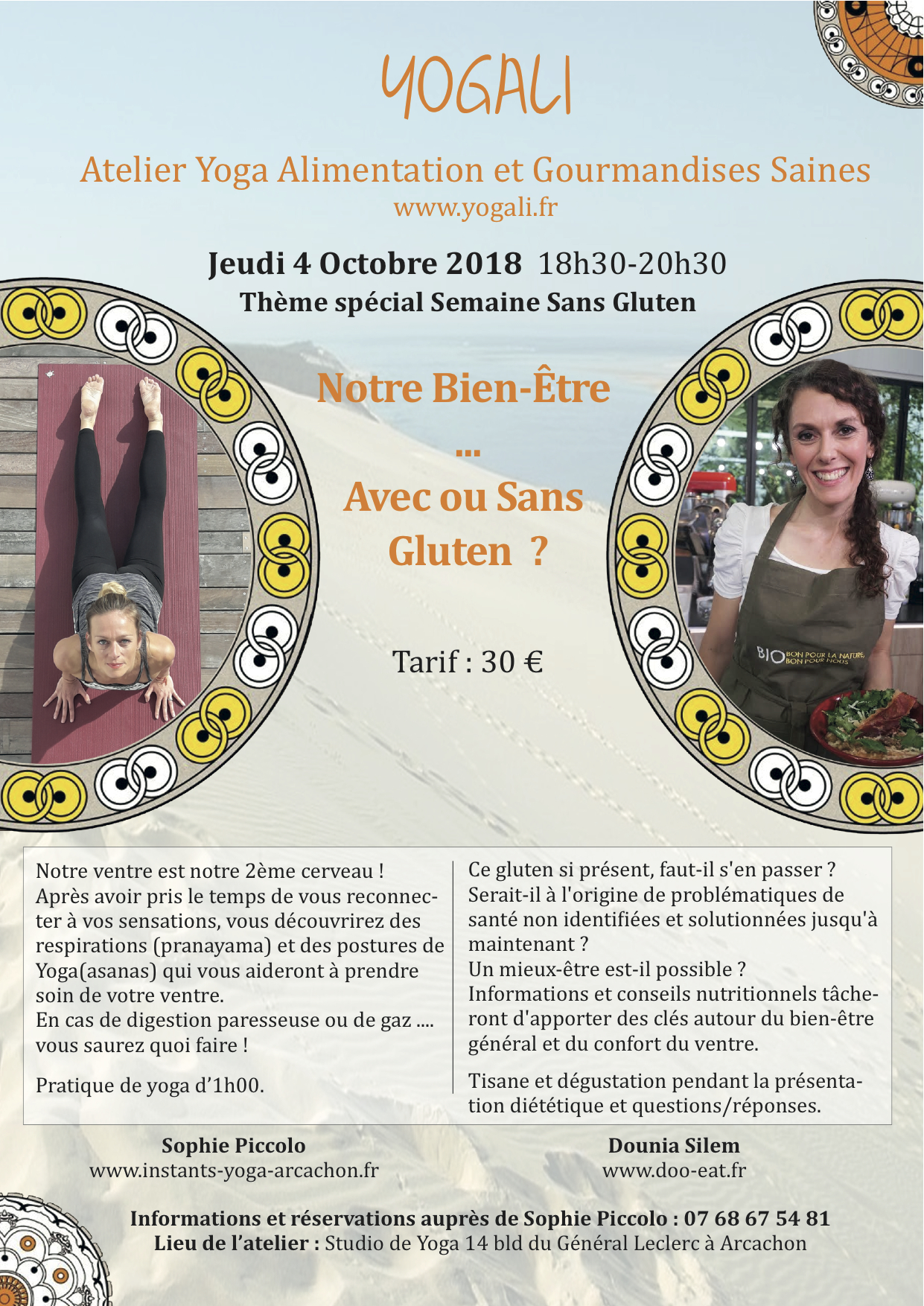 Jeudi 4 Octobre – Atelier Yoga & Alimentation sur le Gluten ! 18h30-20h30