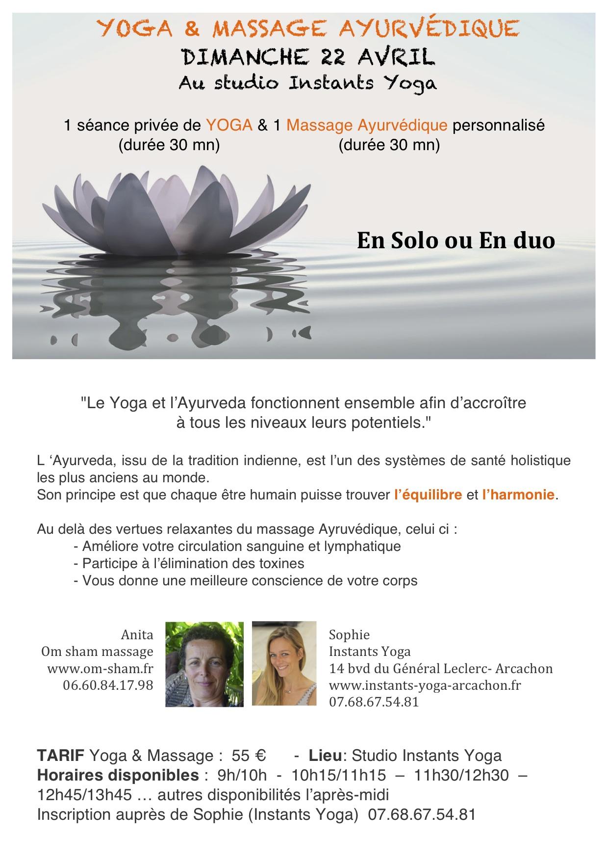 Dimanche 22 Avril , Yoga & Massage Ayurvédique