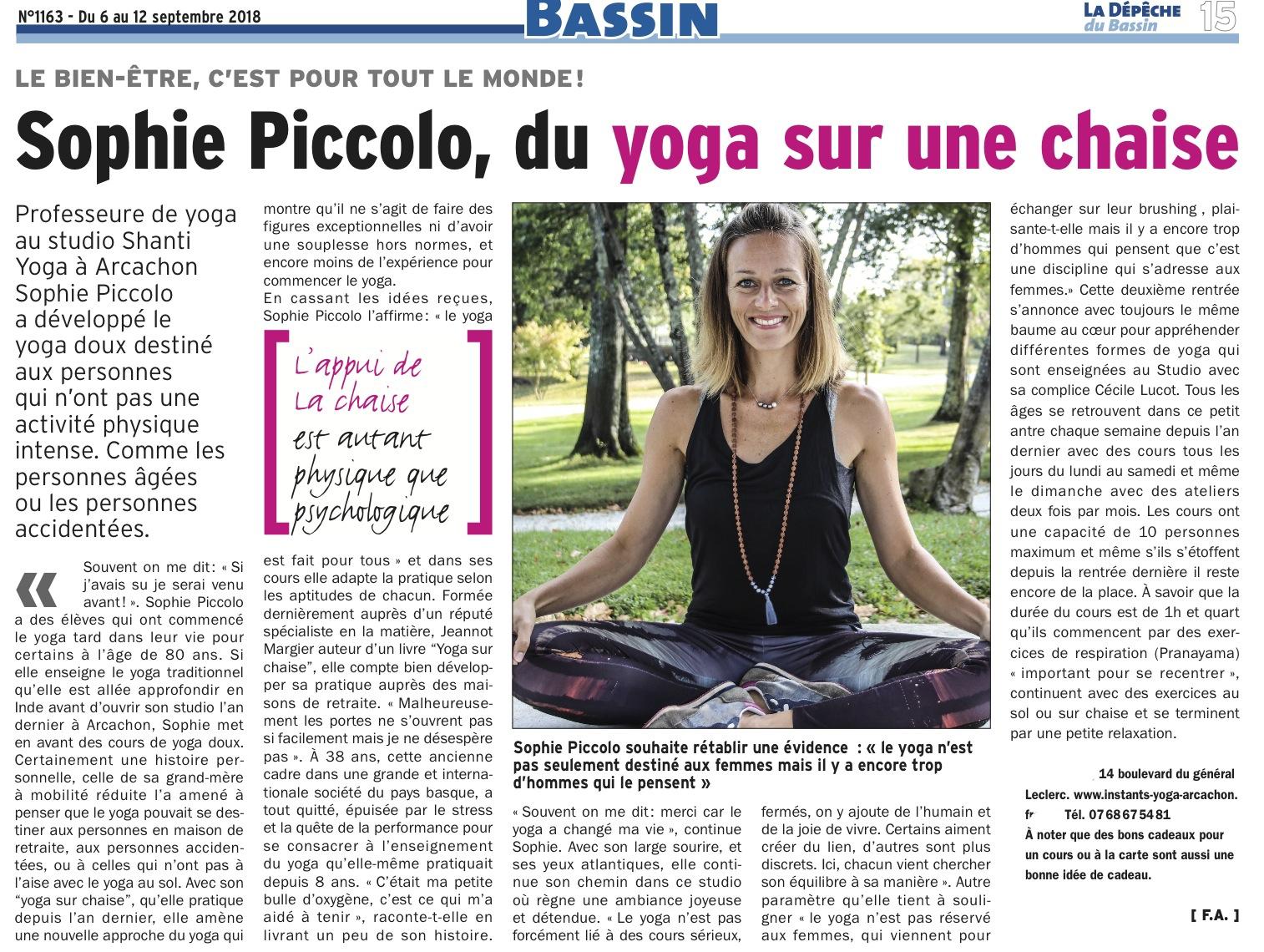 Article paru sur la pratique du Yoga Doux que j'enseigne sur Arcachon – Merci La Dépêche du Bassin !